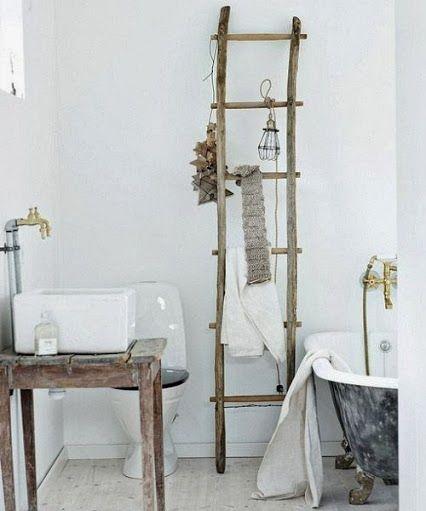 Escalera como toallero decoracion diy pinterest for La casa de mi gitana muebles