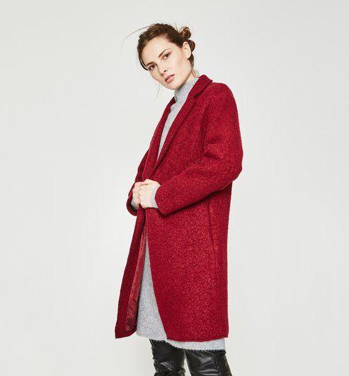 Veste zippée en laine mélangée Rouge Promod en rouge pour