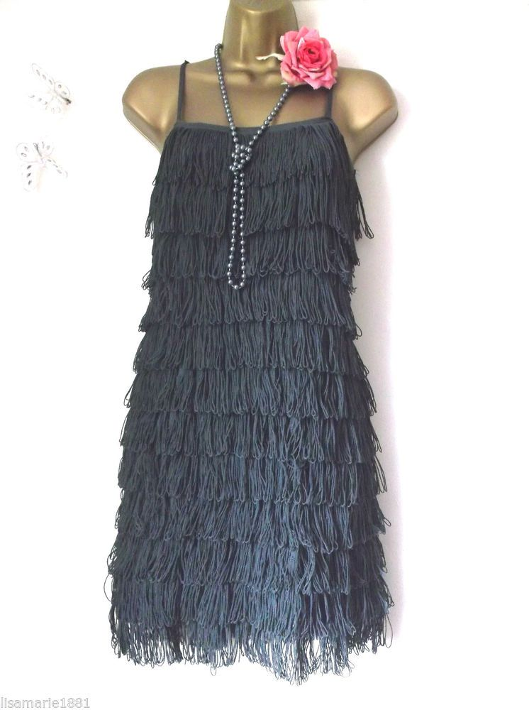 353f309c9ab5 H&M UK 8 GATSBY 1920'S FLAPPER GREY TASSEL FRINGE CHARLESTON DRESS USA 4  EUR 36 #HM #20s #Party