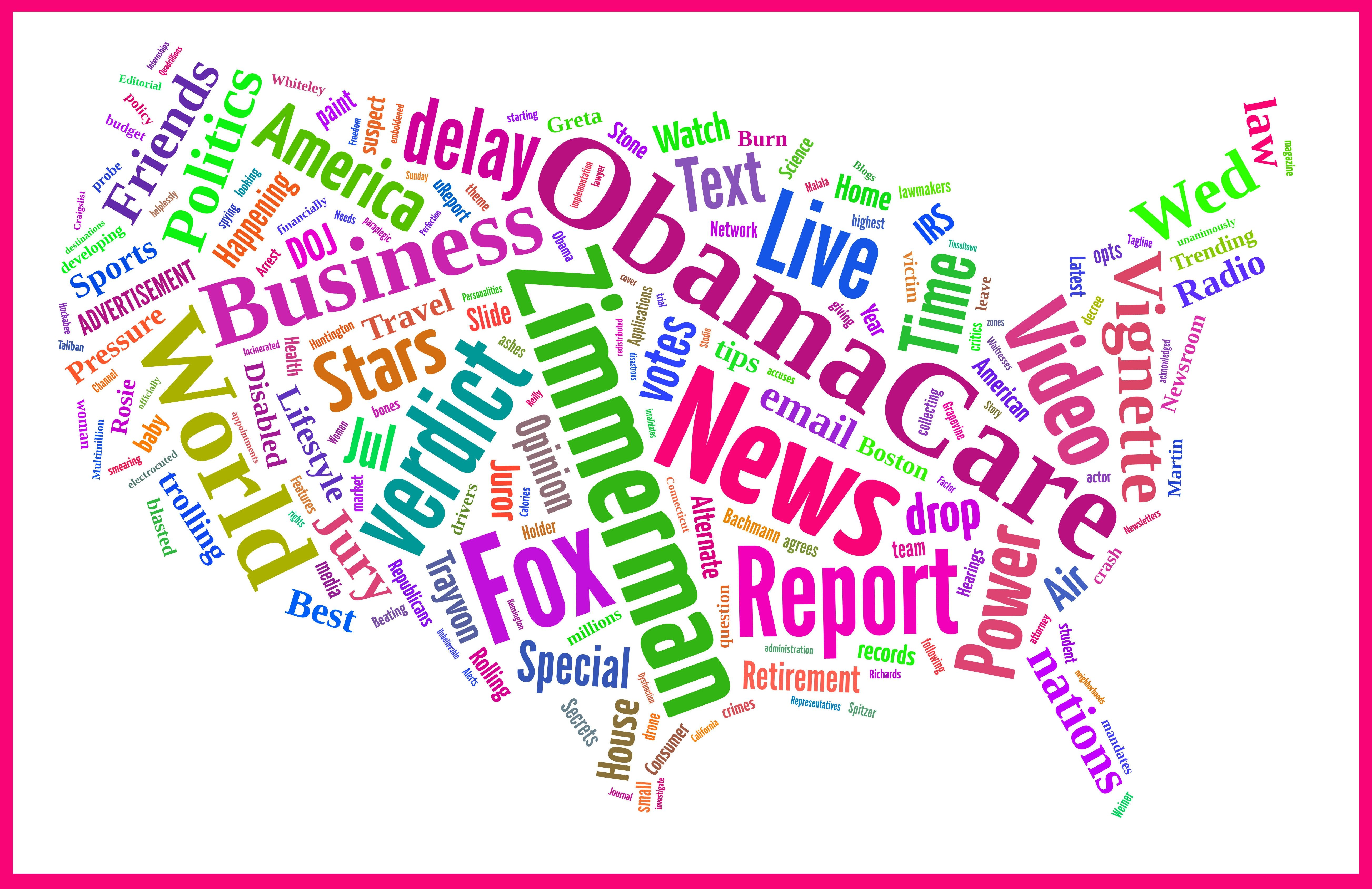Current News Stories In Us Map Word Cloud July