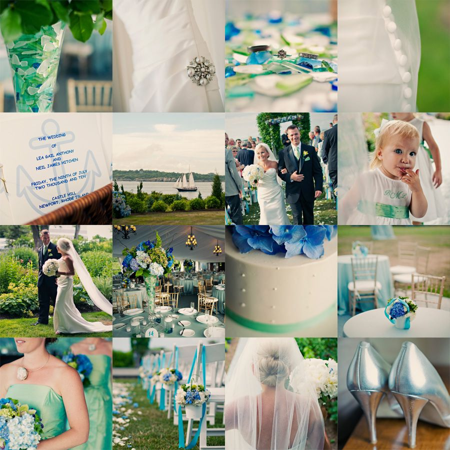aqua, teal, white, green, great for a beachy wedding, would probably switch out the blue or aqua for a tan or beige