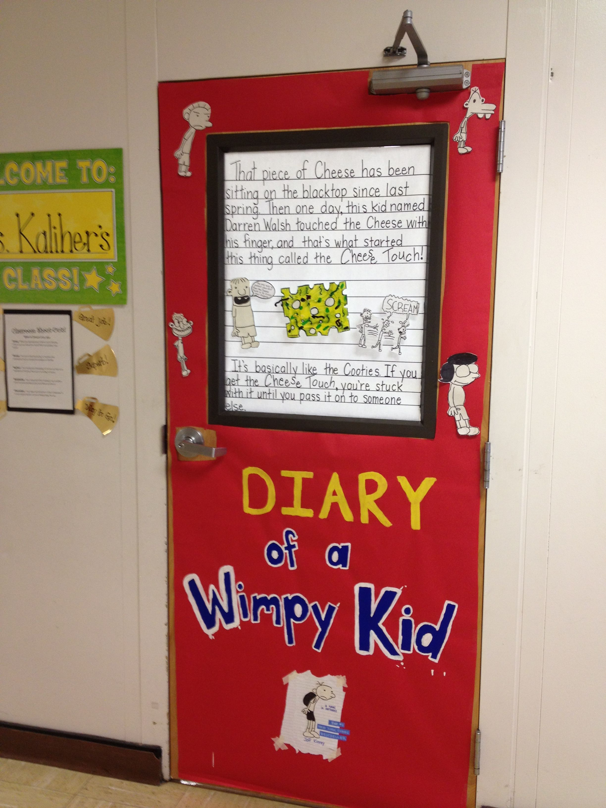 "door decorating for ""celebrate literacy week""diary of a wimpy"
