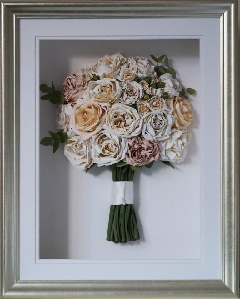 White Peach And Blush Rose Wedding Bouquet Preserved Dried And
