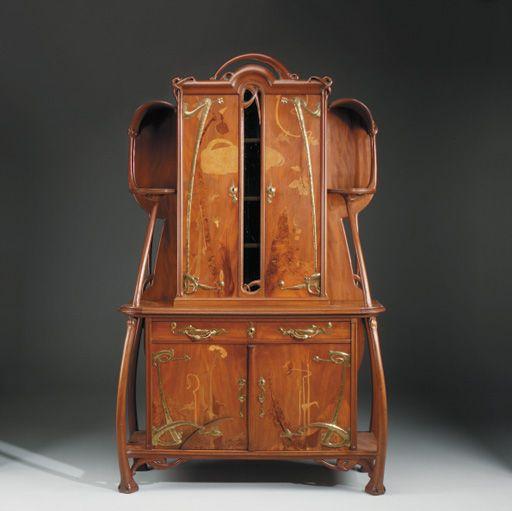 Leon Benouville 1860 1903 Aparador Armario Caoba Tallada Con Incrustaciones De Marqueteria De Frutales Y Laton Meubles Art Nouveau Art Nouveau Art Deco