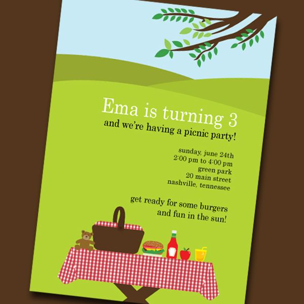 Picnic Invitation Card  Buscar Con Google  Picnic Party