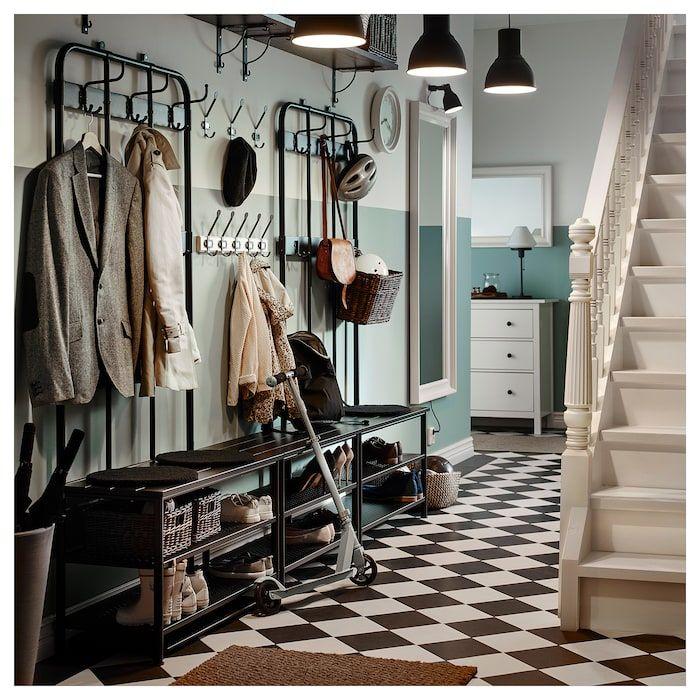 IKEA PINNIG Black Coat rack with shoe storage bench