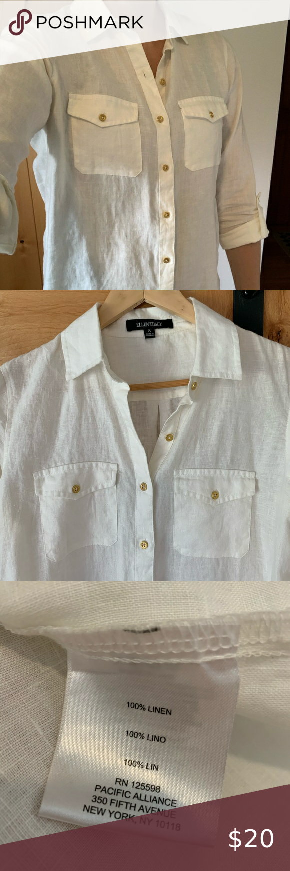 White Linen Button Down Shirt With Gold Buttons Linen Shirt Dress Button Down Shirt Clothes Design [ 1740 x 580 Pixel ]