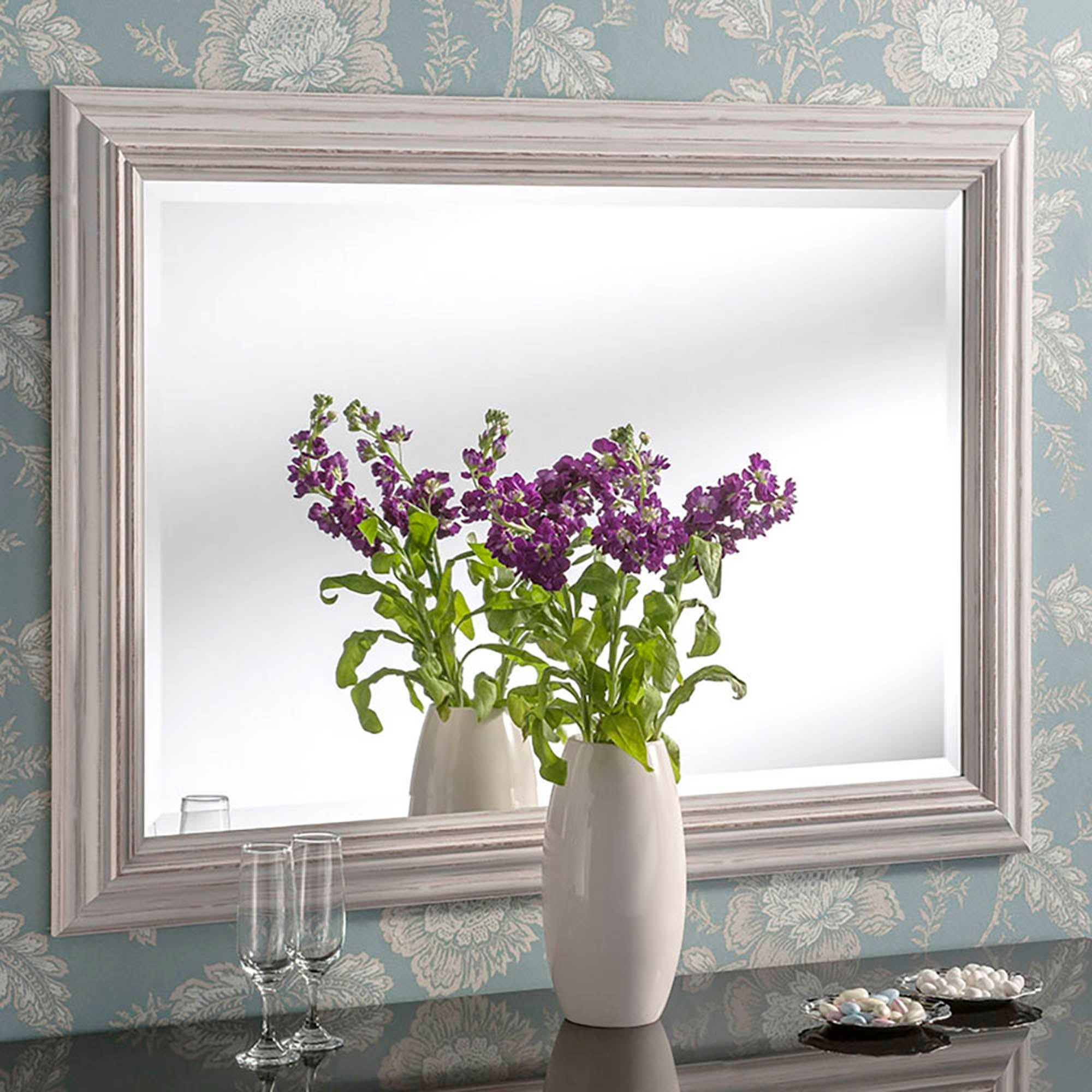 Yearn Framed Mirror Distressed White Mirror Wall Living Room Mirror Wall Bathroom Mirror Wall [ 2000 x 2000 Pixel ]