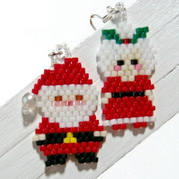 12b4fcac48632 RESERVED Santa Claus and Mrs Claus Earrings, Wolf Earrings | Bead ...