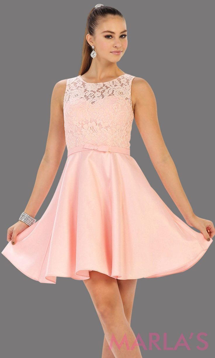 Short simple  semi formal blush pink dress with lace bodice and satin skirt. Lig… - io.net/style #confirmationdresses