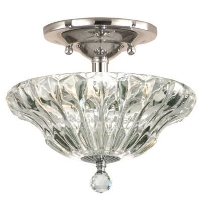Dale Tiffany Meridith 3 Light Polished Chrome Crystal Semi Flush Mount Light Gh11235pc The Home Depot Semi Flush Mount Lighting Dale Tiffany Polished Chrome