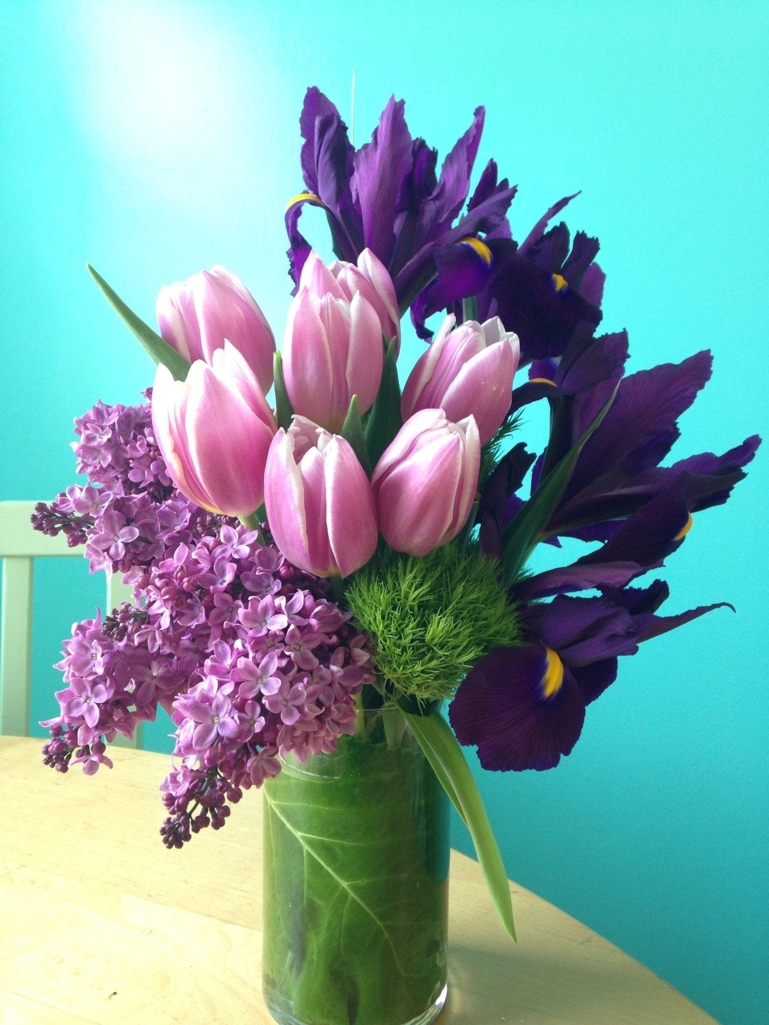 Lilac, Tulip And Iris Arrangement Designed By The Plum Dahlia
