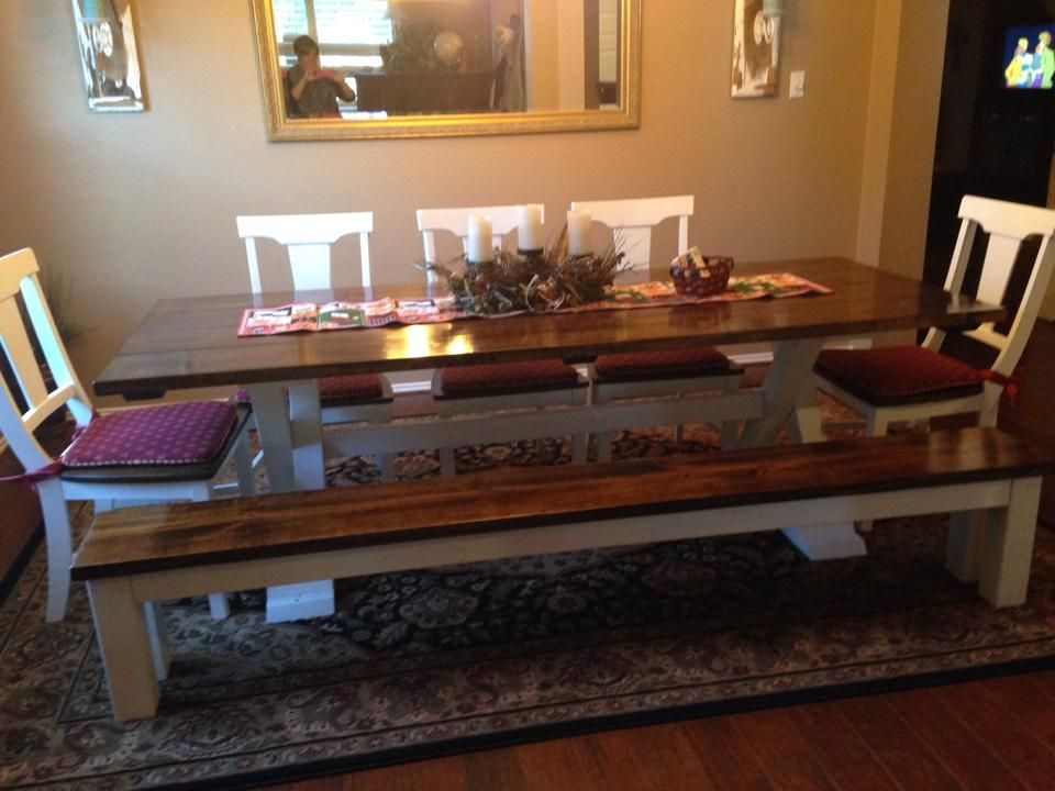 Attrayant James + James 8 Foot Trestle Table Stained In Early American With An Ivory  Painted Base