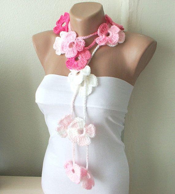 Handmade Crochet Pink white (battik) tones Color Flower Lariat, Scarf, Necklace $25.00