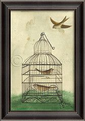 Birds in Cage Brown Art