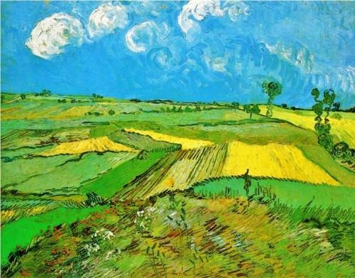 1890 Vincent van Gogh (Dutch artist, 1853-1890)) Wheatfield at Auvers under Clouded Sky