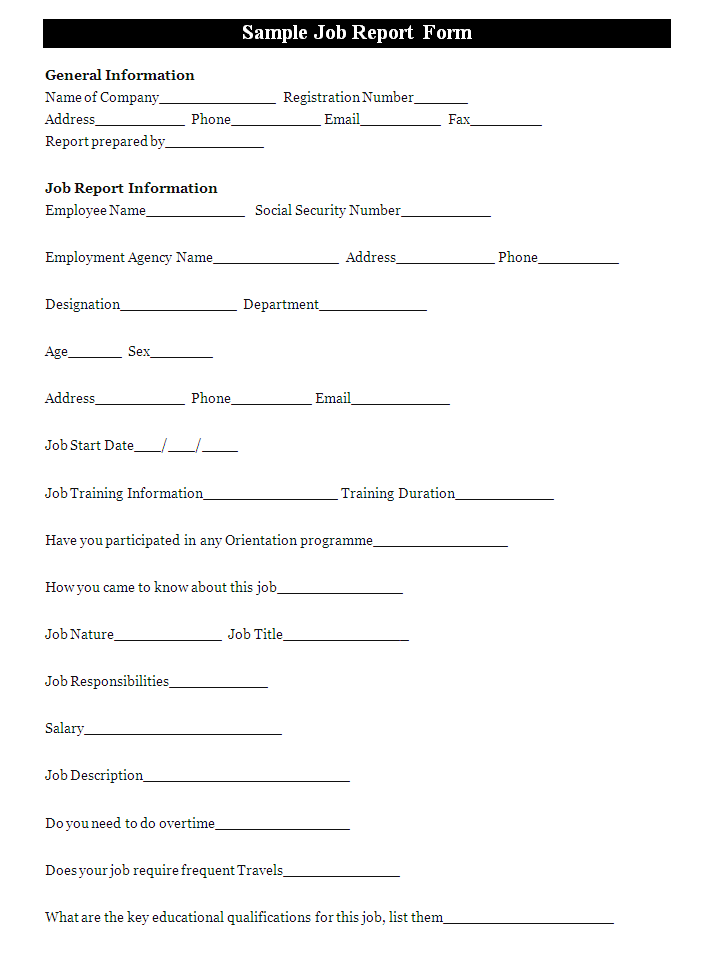 A Job Report Form Is Prepared By An Employee To Provide Details