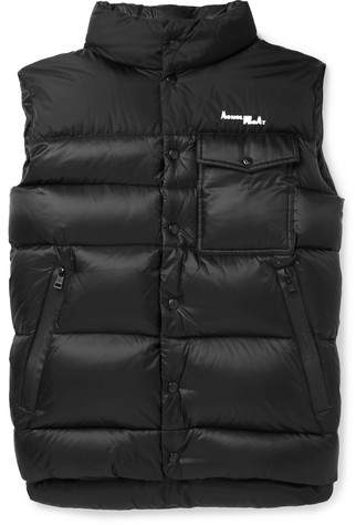 Moncler Genius 7 Fragment Abene Quilted Printed Shell Down Gilet Moncler Lanvin Sneakers Green Trousers