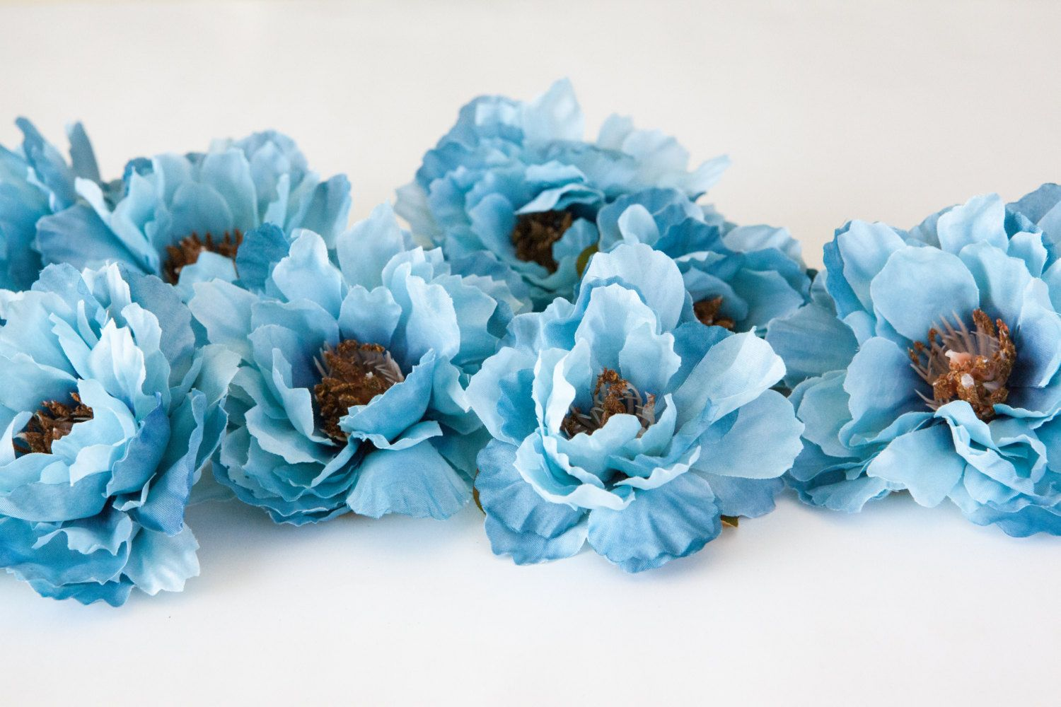 Set Of 9 Wild Peonies In Steel Blue Silk Flowers Artificial