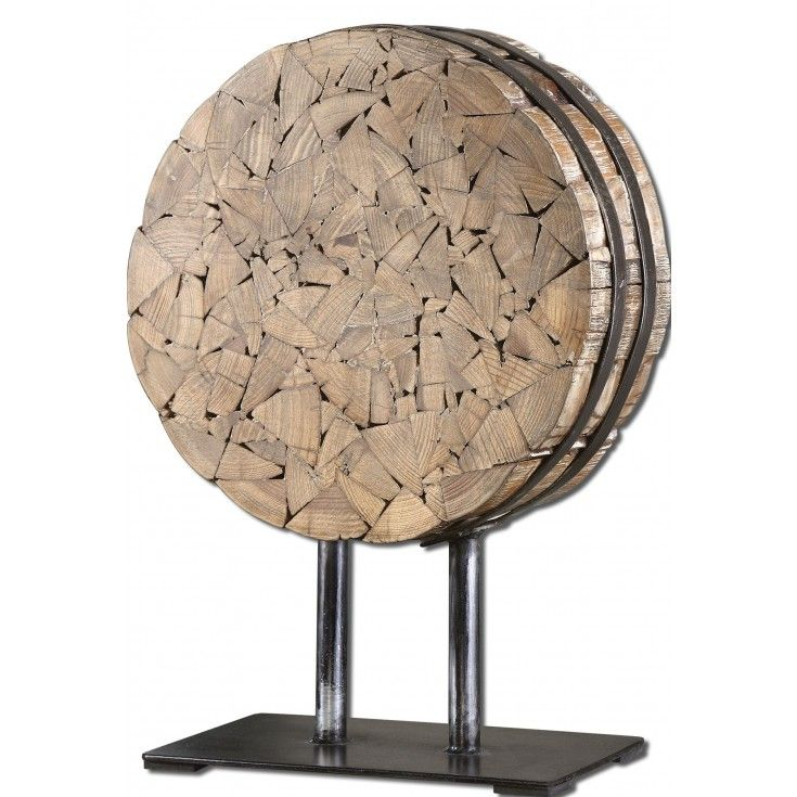 Fir Wood Table Décor: Tightly Packed, #Reclaimed Fir Wood Chips Wrapped In Black Metal Straps And Displayed On A Stand.