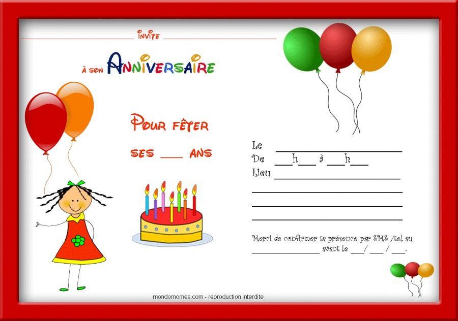 Carte invitation anniversaire fille cadre rouge ayk heaven pinterest carte invitation anniversaire fille cadre rouge stopboris Choice Image