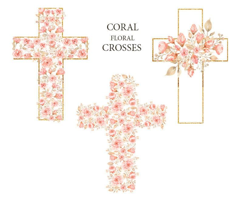 Watercolor Easter Cross Clipart Coral Peony Floral Frame Clip Art Pink Baptism Crosses Wedding Invites New Baby Girl Holy Spirit Png Clip Art Etsy Digital Art Easter Cross