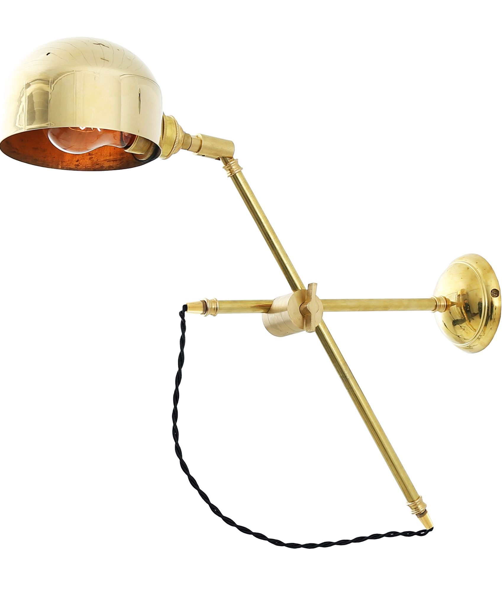 Polished Brass Fully Adjustable Swing Arm Wall Light Swing Arm Wall Light Wall Lights Polished Brass