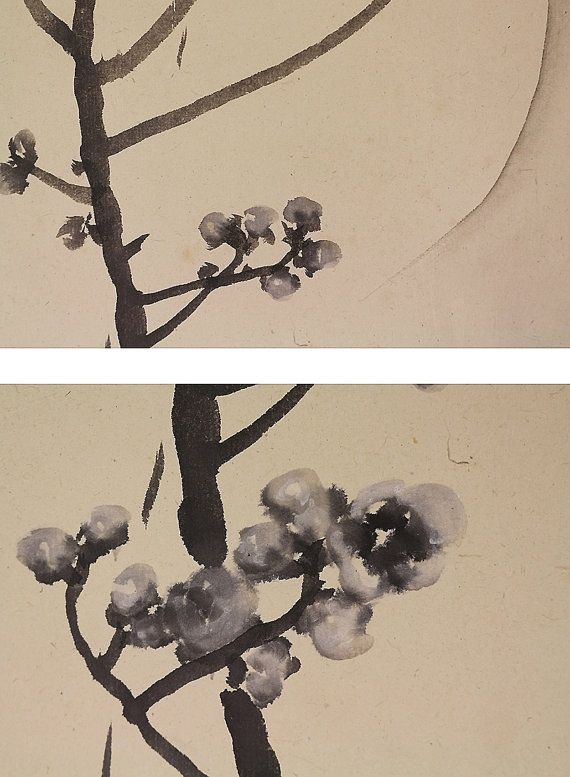 Japanese Fine Art Moon Night and Plum Blossoms by SakuraAntiques