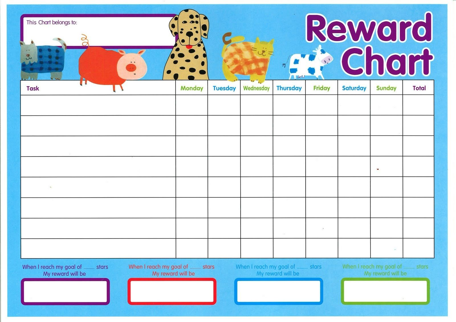 reward charts for toddlers free printable