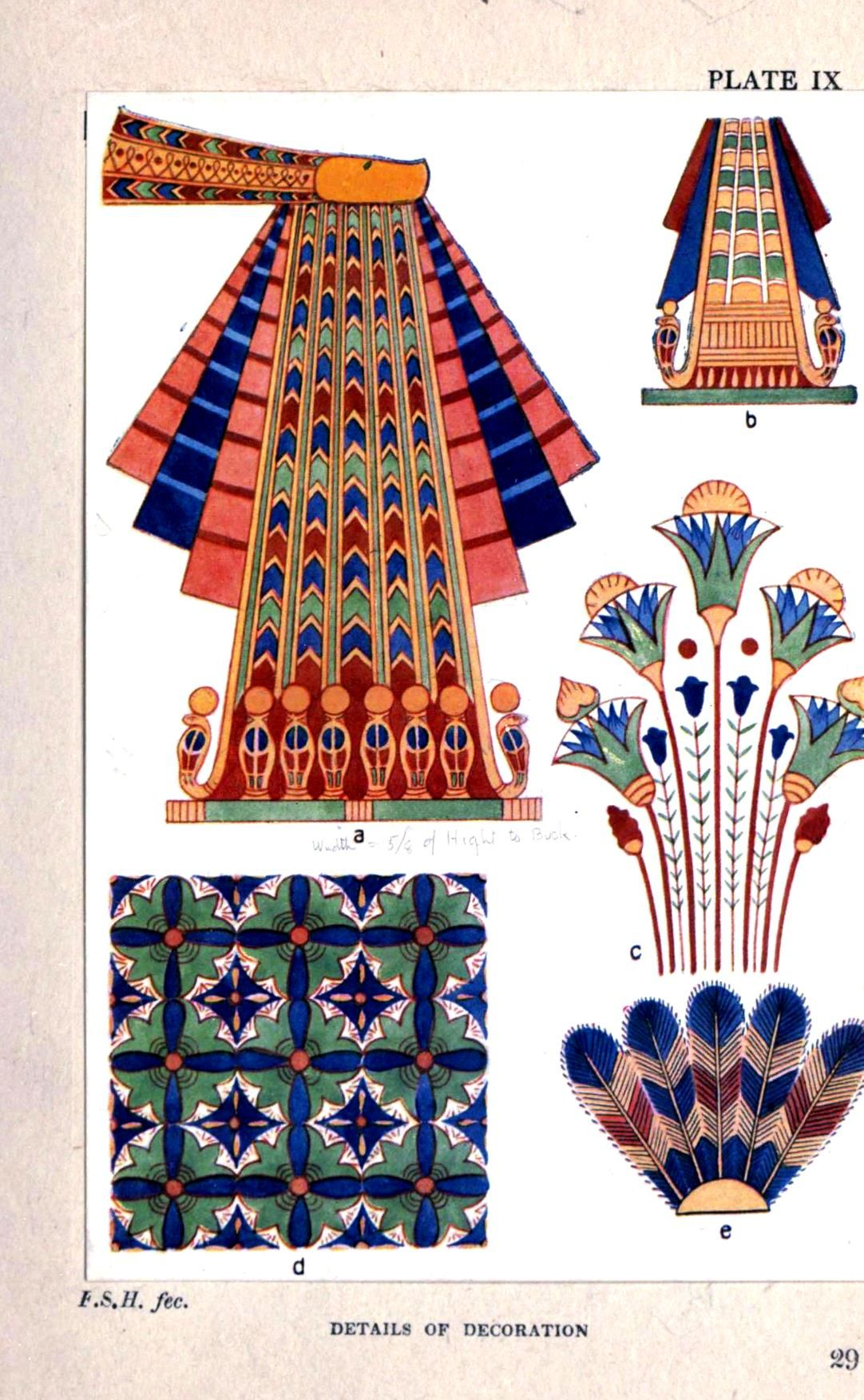 Cleopatra Ornate Traditional Cherry Formal Dining Room: Design - Textile - Egyptian 02