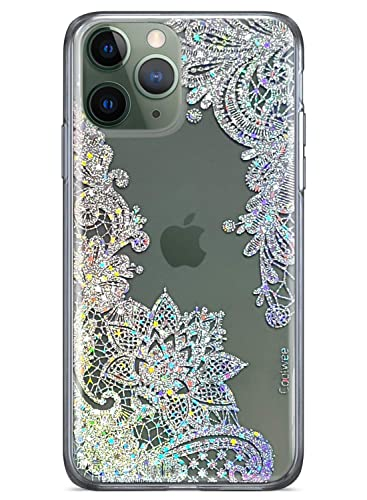 Amazon Com Coolwee Clear Glitter Iphone 11 Pro Max Case Thin Flower Slim Cute Crystal Lace Bling Women Girls Floral Plast In 2020 Glitter Iphone Crystal Lace Crystals