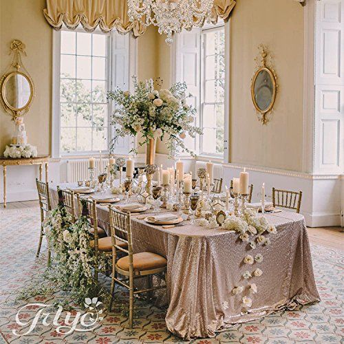 TRLYC 84 X 108 Inch Champagne Sequin Table Cloth