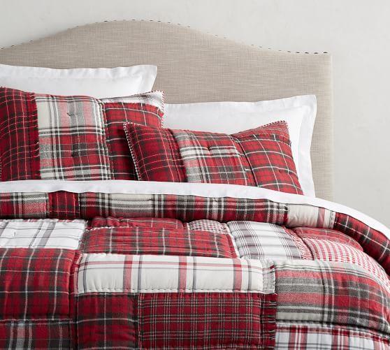 Cuddl Duds Patchwork Lodge Plaid Flannel Full Queen Duvet Cover 2 Standard Shams