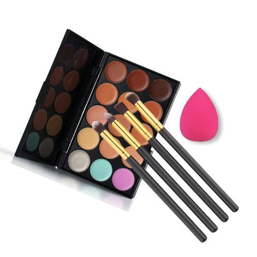 Amazon.com : U-beauty 15 Colors Contour Face Cream Makeup Concealer Palette + 4pcs Powder Brushes With Free Makeup Sponge Blender : Beauty