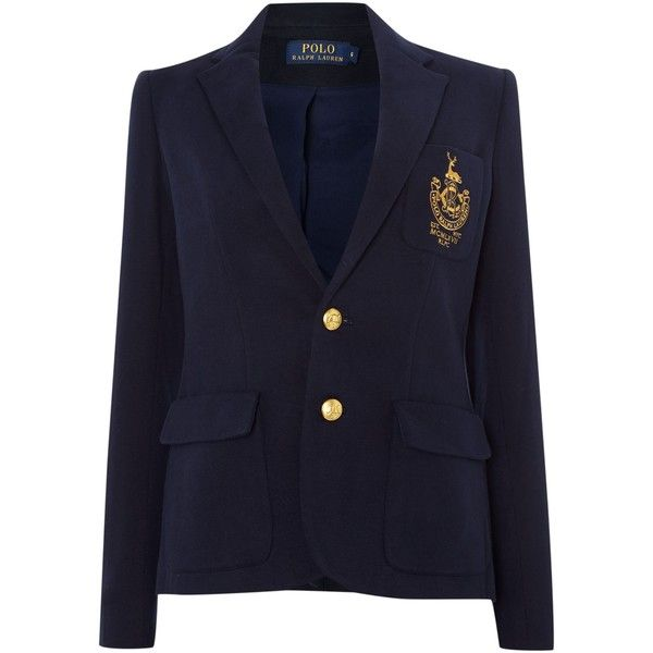 Polo Ralph Lauren Long Sleeved Crested Blazer 255 Liked On Polyvore Featuring Outerwear Ralph Lauren Long Sleeve Ralph Lauren Blazer Long Sleeve Blazers