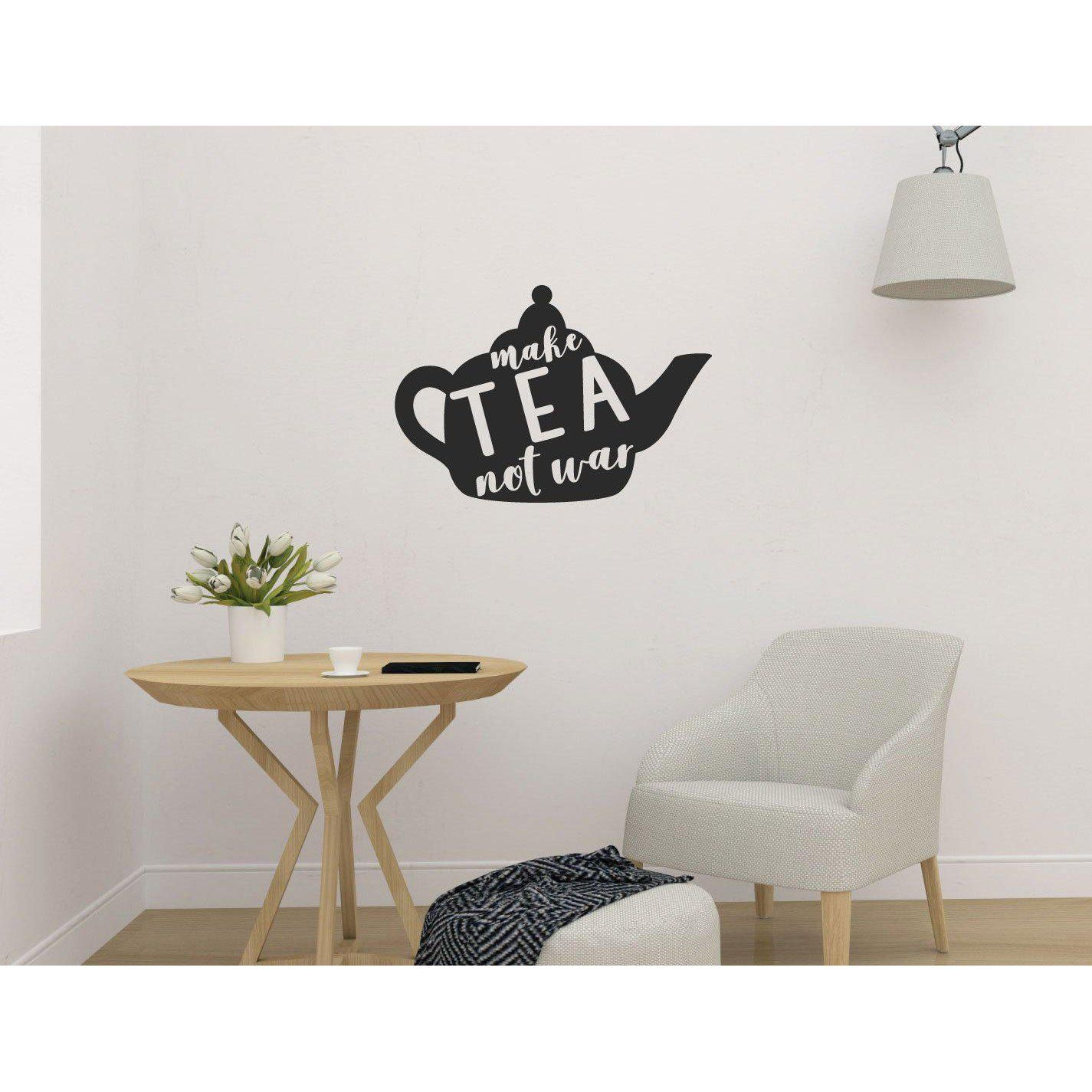 Make Tea Not War Funny Wall Sticker Quote Wall Stickers Quotes