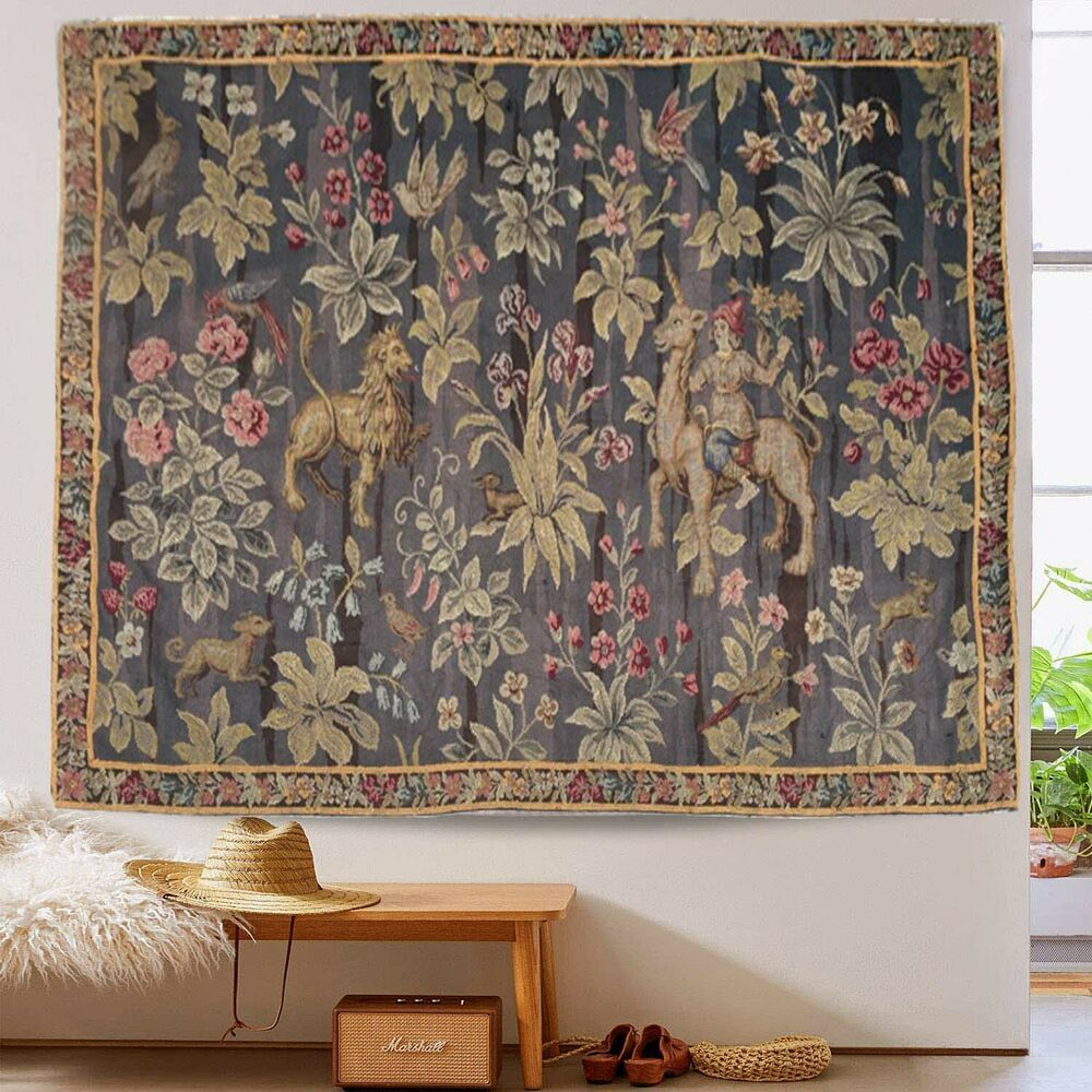 9862 Vintage French Handmade tapestry Aubusson wall hanging Homeliving Decor 5x4 #Handmade #VintageRetro
