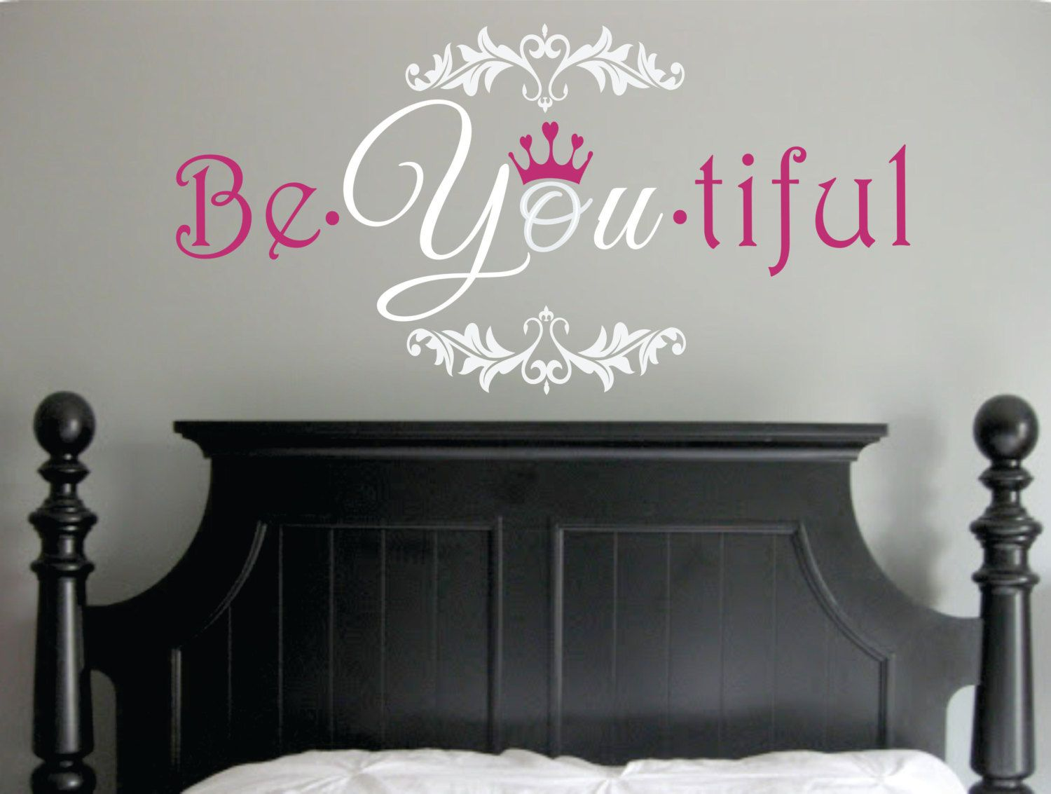 Girls wall decor girls wall art be you tiful wall decal for Bedroom vinyl quotes
