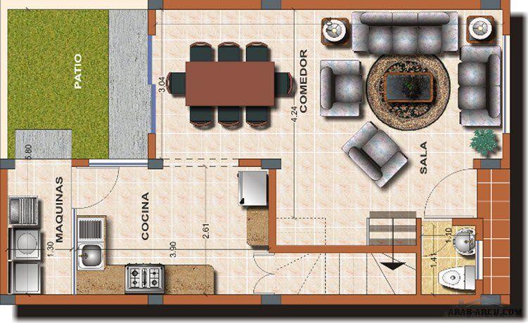 مخطط أفضل منزل صغير المساحة الارض 90 متر مربع 3 غرف 2 حمام Floor Plans Design City View