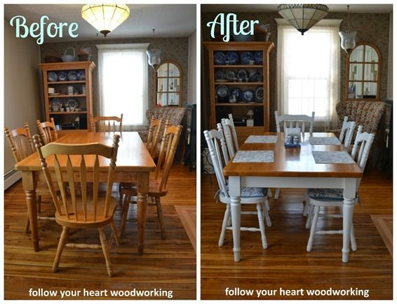 before-after-pine-dining-room-set.jpg (566×434) | Flat Ideas | Pinterest