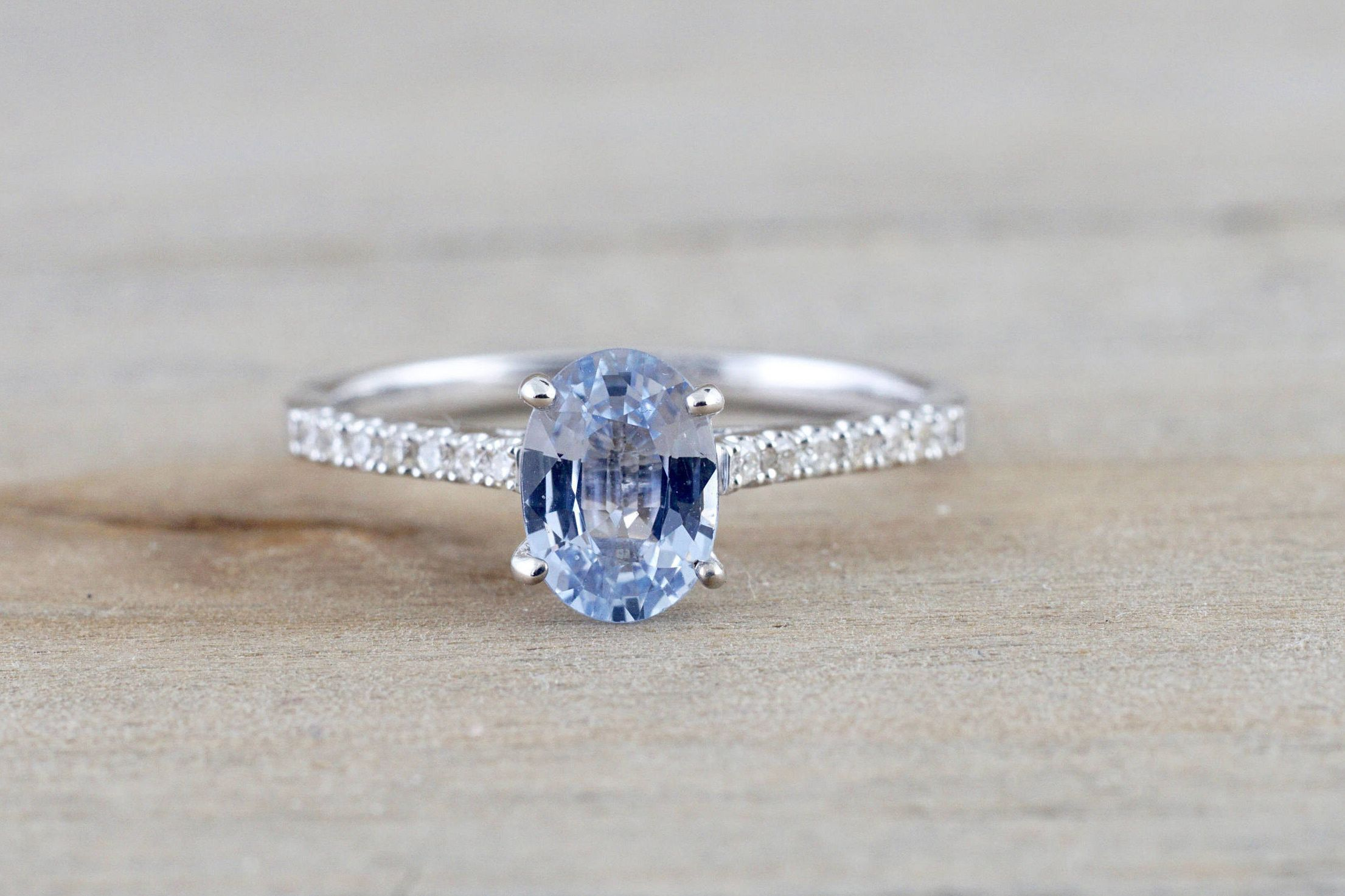 solitaire and unheated diamond white pin engagement sapphire light blue ct natural ring carat gold oval