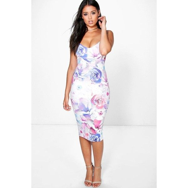 5104cbe67714 Boohoo Night Paige Blurred Floral Strappy Midi Bodycon Dress ($32) ❤ liked  on Polyvore featuring dresses, multi, floral print maxi dress, bodycon midi  ...