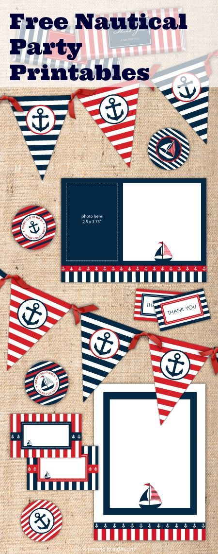 Free Nautical Party Printables from Ian & Lola Designs | Nautical ...