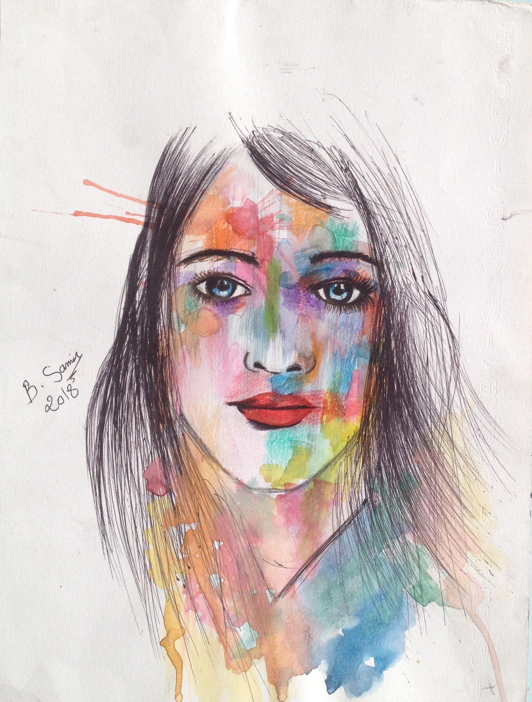 Technique Mixte Crayons De Couleurs Stylo 25 30 Dessin Aquarelle