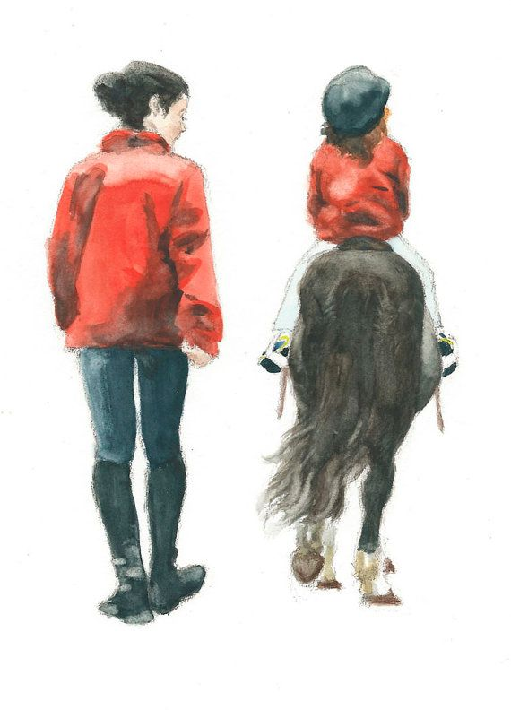 Horse ACEO print  The riding lesson  di BiancasMagicLantern
