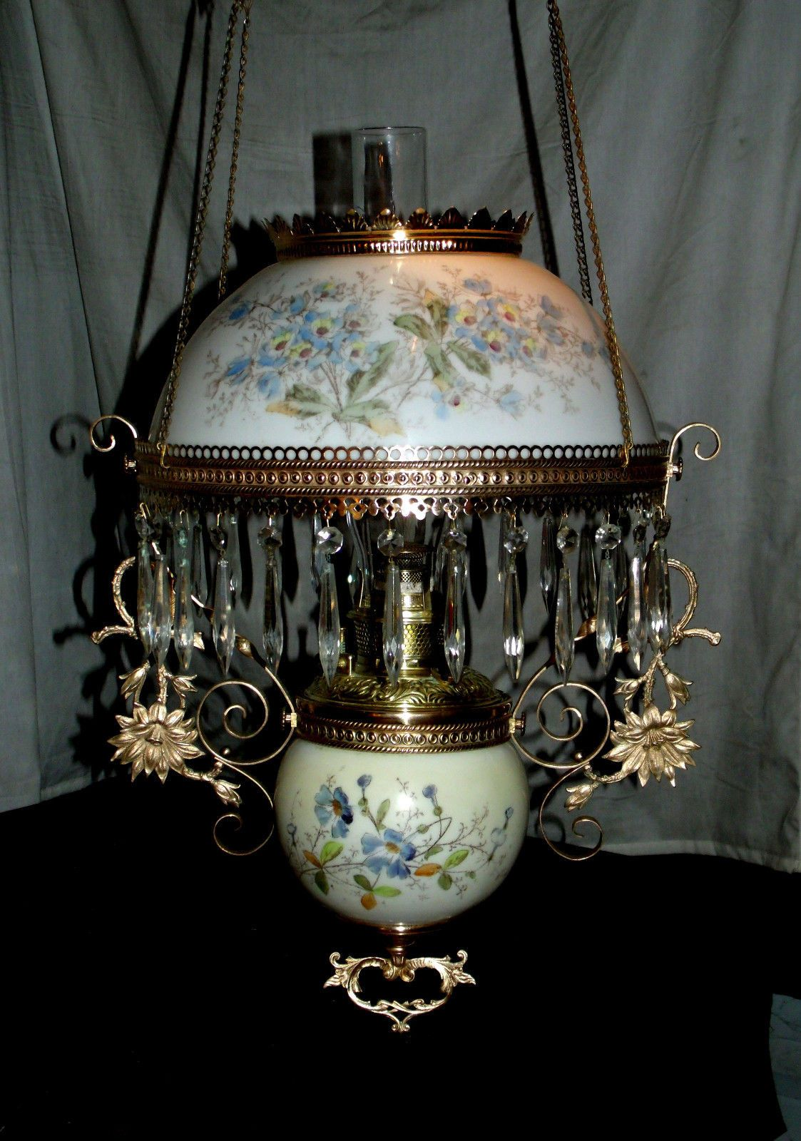 Antique Bradley Hubbard Hanging Oil Lamp Blue Floral Shade