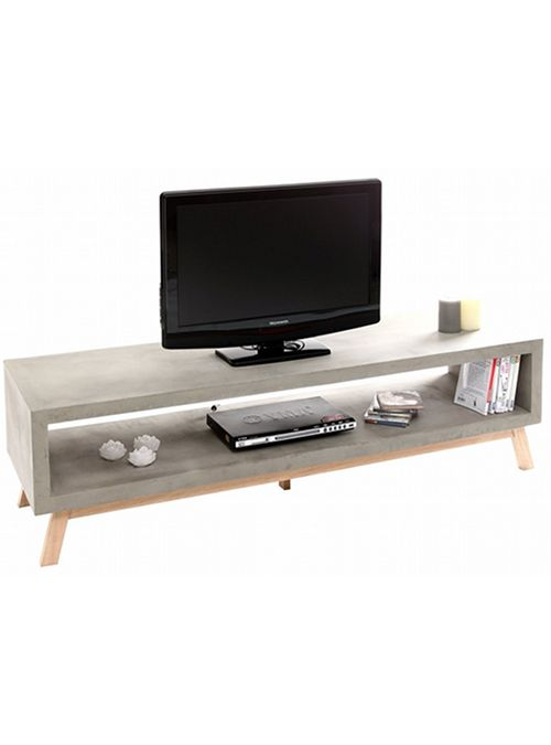 Mobile Porta Tv Anima In Legno Con Lavorazione Effetto Cemento La
