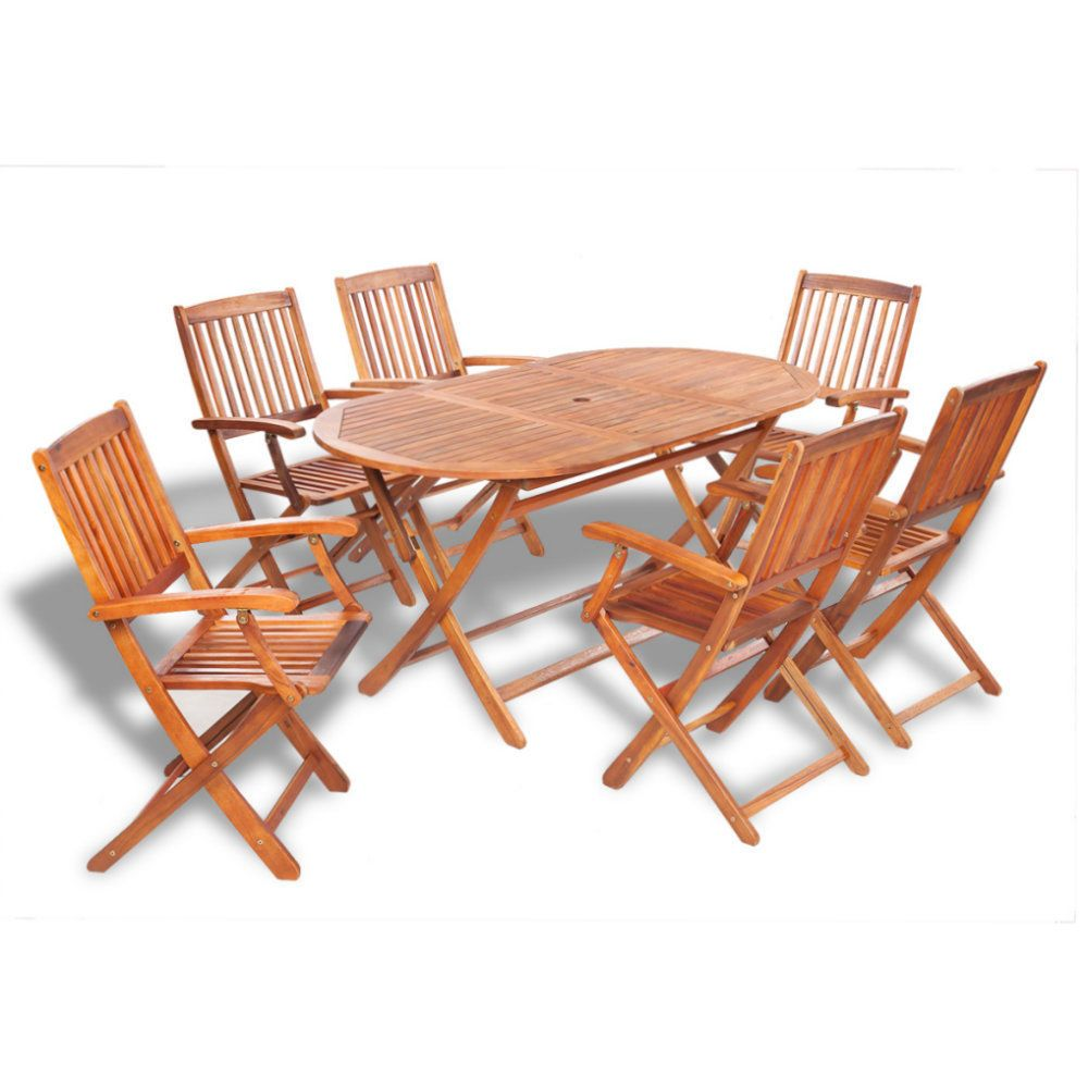 Wooden Garden Table And Chairs Patio Furniture 6 Seat 7 Piece Outdoor  Dining Set