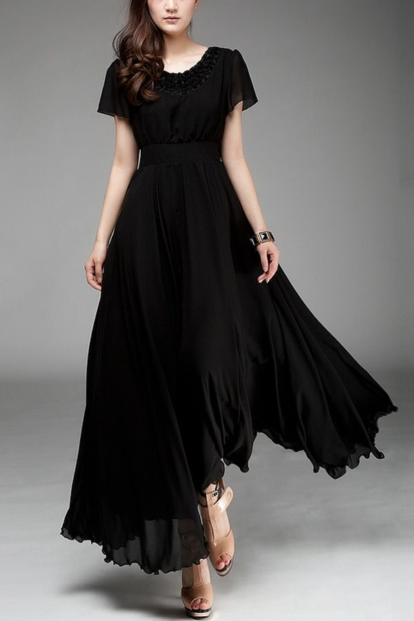 Images of Black Chiffon Dress - Reikian