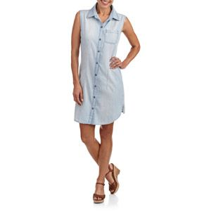 Faded Glory Women's Sleeveless Denim Shirtdress